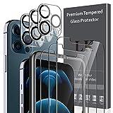 LK Compatible avec iPhone 12 Pro Max 6.7 Pouce,3 Pièces Verre Trempé et 3 Pièces Caméra Arrière Protecteur,Double Protection, Protecteur écran,Outil d'installation Facile