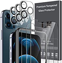 6 Pack LK 3pcs Screen Protector & 3pcs Camera Lens Protector Compatible with iPhone 12 Pro Max 6.7-inch, Tempered Glass, Easy Frame Installation, HD Ultra-Thin