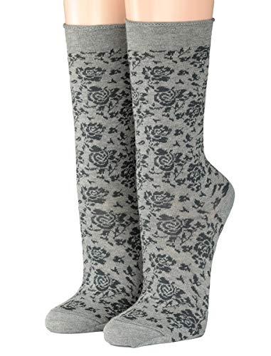 CRÖNERT Socken Longsocks mit Rollrand Design Rosi 18216 (35-38, grau)
