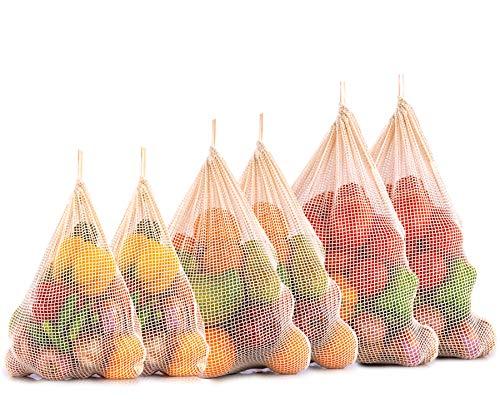 Baumwollnetze, Netzbeutel baumwolle, Obst und Gemüsebeutel - Wiederverwendbare Obst, und Gemüsebeutel, gemüse netz, Baumwollbeutel Einkaufs, Zero Waste netzbeutel 6 er Set (2 XGroß, 2 Groß, 2 Mittel)