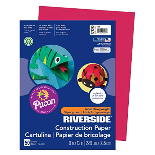 """Riverside 3D Construction Paper, Red, 9"""" x 12"""", 50 Sheets"""