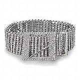 MU Catena con vita di danza del ventre Catena con diamante a forma di diamante intarsiato a diamante Linea di accessori per abbigliamento con cinturino in diamante a dieci file,bianca,130 centimetri