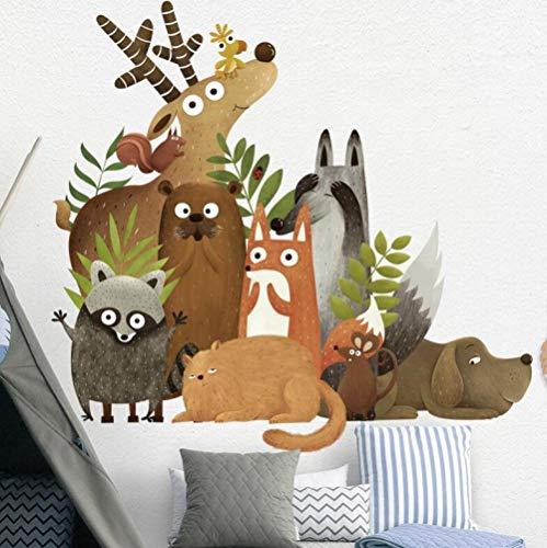 3D vliesbehang personeel artistiek schilderij bosdieren eland vos konijn muursticker voor kinderkamer kinderen wandtattoo kleuterschool slaapkamer decor poster kunst @ 250 * 175