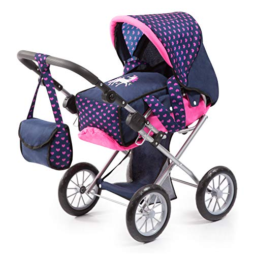 Bayer Design Bayer Design-13654AA Cochecito de Muñecas City Star con Bolso Cambiador, Transformable, Altura Regulable, Plegable, Moderno, Unicornio, Color Azul, Rosa 13654AA