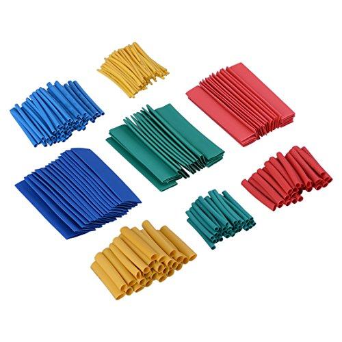 260pcs 5 couleurs Assortiment 8 Taille Assortiment 2:1 Tubes thermorétractables Tube Manchon Enveloppe Kit de fil métallique 10.4 Mpa 15 KV/mm bleu vert rouge jaune bleu