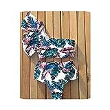 Trajes de baño Lindos 2020 Nuevos Bikinis de Cintura Alta Traje de baño para Mujer Traje de baño con Doble Volante Bikini con Estampado Fuera del Hombro Trajes de baño Ropa de playa-OC19280W2-M
