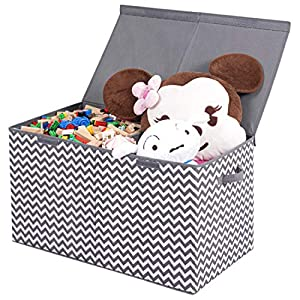 LadyRosian Toy Chest – 2 Bin Collapsible Storage Organizer with Flip-Top Lid for Kids Playroom, Box Stores Stuffed Animals, Home Organization for Nursery, Playroom, Closet,Large (Gray/White Chevron)