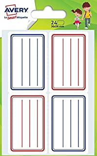 Avery - ECOL24 - Pack of 24School Labels - 36 x 56mm -Blue and Red