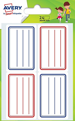 Avery Heftetiketten, 24Stück, für die Schule–36x 56mm–Blau und Rot (ECOL24)