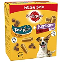 Pedigree Mega Box comes with two types of treats in one: Tasty Minis and Jumbone Minis, so your dog can enjoy all their favourite snacks when training or rewarding Pedigree Jumbone dog treats combine a chewy outer with a flavour filled centre, while ...