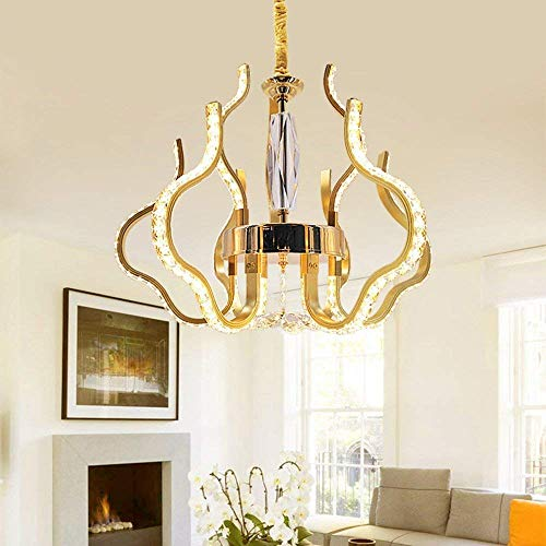 TIANYOU Moderno Oro Led Cristal Araña Colgando Restaurante Sala Sala de Estar Dormitorio Araña Iluminación Kroonluchter proteger los ojos