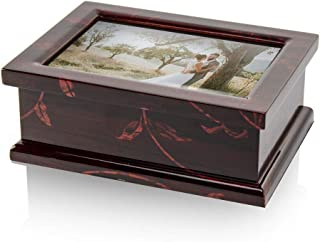 Modern 4 X 6 Photo Frame Musical Jewelry Box with Floral Motifs - Over 400 Song Choices - Jack and Jill Swiss