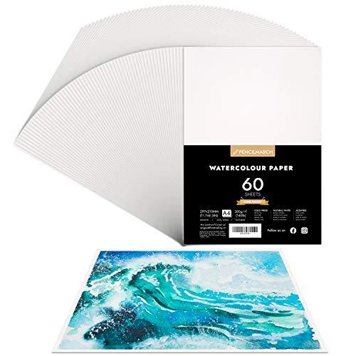 Watercolour Paper A4 *60 sheet Seiten für Aquarell Zeichnungen,Aquarellpapier, kalt gepresster 300gsm Watercolour Zeichenblock, ideal für Aquarelltechniken und Skizzen-PENCILMARCH