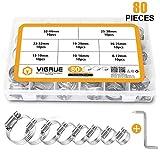 VIGRUE Collare di serraggio (80 Pezzi) - Fascette stringitubo regolabili in acciaio inossidabile