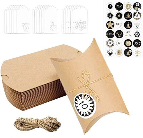HIQE-FL 2020Bolsas Calendario Adviento,Calendario De Adviento,Caja de Dulces,Cajas de Regalo Navidad con 24 Pegatinas De Adviento (Color Madera)
