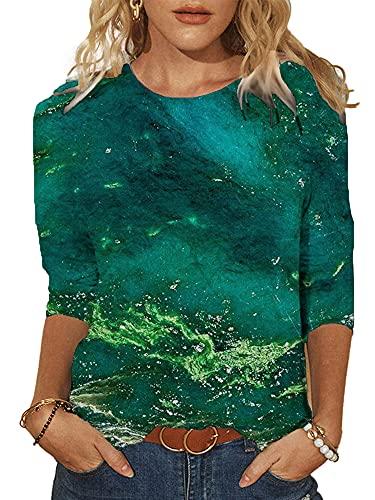 nvIEFE Camiseta casual de media manga para mujer con estampado de cuello redondo, verde oscuro, 5X-Large