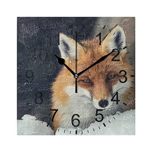 XiangHeFu Reloj de Pared Cuadrado 8x8 Pulgadas-Snowfield Fox-Home Office School Decorativo sin tictac
