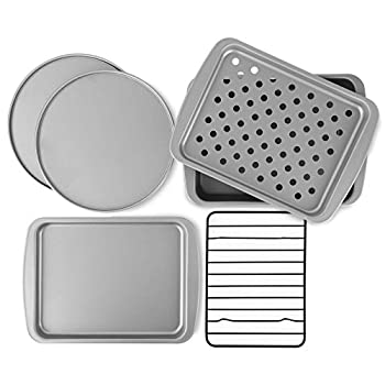 G & S Metal Products Company Non-Stick 6-Piece Toaster Oven Baking Pan Set - Non-Stick Baking Pans Easy to Clean and Perfect for Single Servings