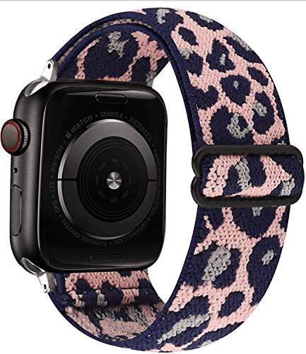 SZWJT-LV Stretchy Loop Strap Compatible with Apple Watch Bands 38mm 40mm 42mm 44mm ,Adjustable Stretch Braided Sport Elastics Nylon Women Men Wristband Compatible with iWatch Series 6/5/4/3/2/1 SE (42mm/44mm, Pink Leopard)
