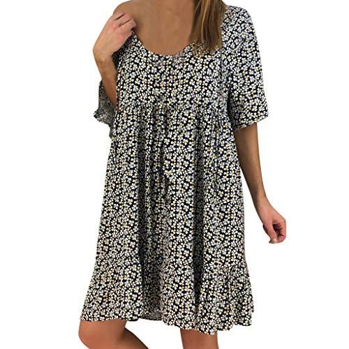 Auifor Dames met aantrekkelijke losse opdruk HLAF Sleeve Raff-mini-jurk zomerjurk