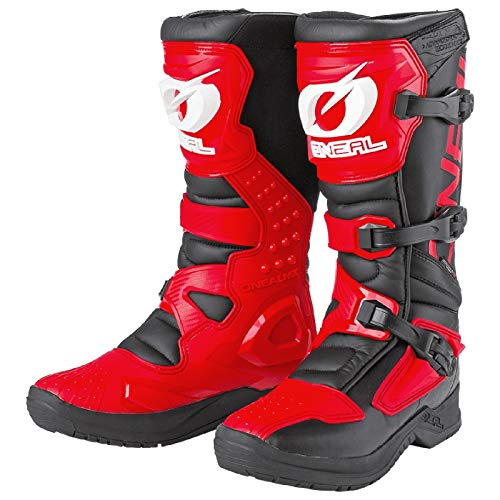 O'NEAL   Botas de Motocross   Enduro de Motocross   Protección Interior de Tobillos, pies y Zona de Cambio, Forro Perforado, Microfibra Botas RSX   Adultos   Rojo   Talla 47