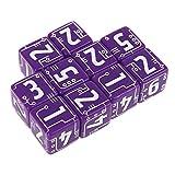 MONLEYTA 10 Piezas/Set Línea de 6 Lados Dados Cuentas Juegos de rol de Escritorio en Blanco Púrpura