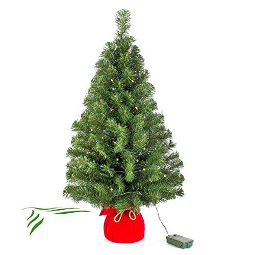 artplants.de Künstlicher Mini Weihnachtsbaum WARSCHAU, LED\'s, rot, 90cm, Ø 50cm - Kunst Christbaum - Deko Tannenbaum