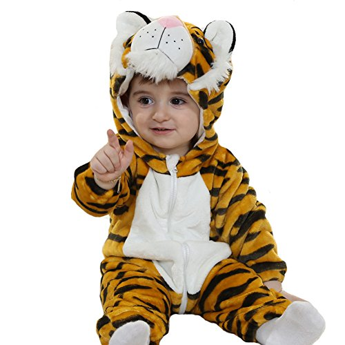 Doladola Unisex Baby Hooded Romper Tier Flanell Onesies (Tiger, Größe 70 (Alter 3-6 Monate))