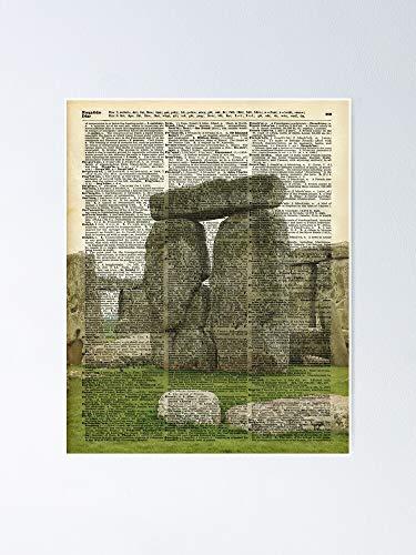 AZSTEEL Stonehenge Magic Place Vintage Collage Diccionario A