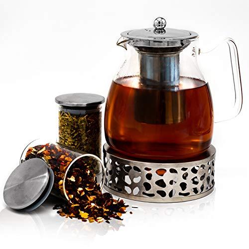 JOYTASTE Teekanne Glas mit Stoevchen Set - Designer Tee-Equipment | Herausnehmbarer Siebeinsatz Edelstahl - 1.5 Liter Füllvolumen - inklusive Aufbewahrungsgläser