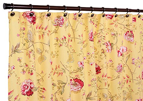 vintage pink flowers on cream yellow shower curtain