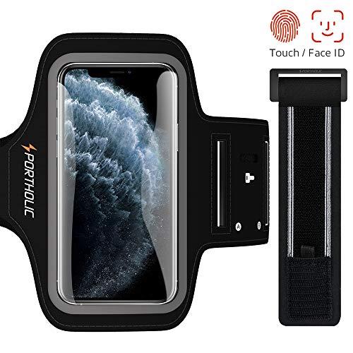 PORTHOLIC Sport Armband Fitness für iPhone 11 Pro 11 XR, Galaxy S10 S9 S8, Huawei P20, Schlüsselhalter, Kartensteckplatz, Kopfhörerloch, für Handy Bis zu 5,8 Zoll, für Joggen Radfahren Wandern