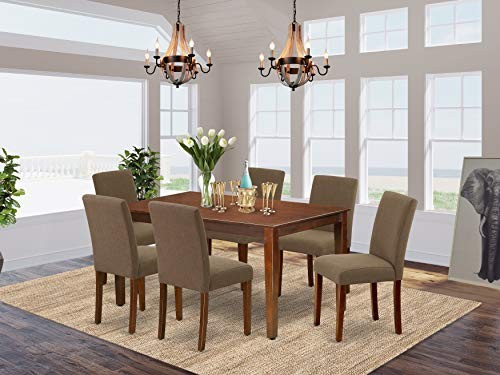7Pc Rectangle 60' Dining Table And 6 Parson Chair With Mahogany Leg And Linen Fabric Coffee