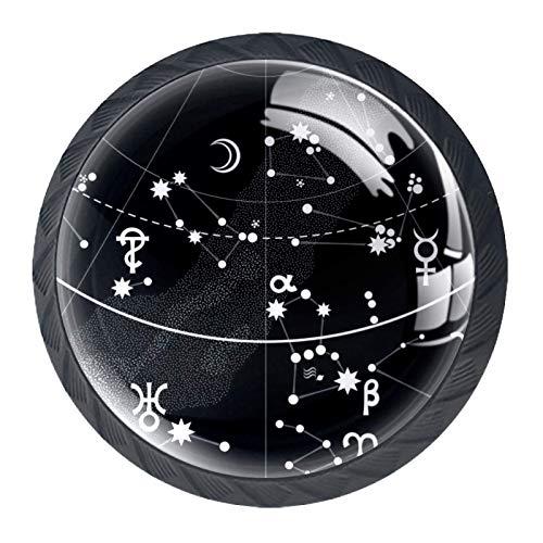 Atlas astronómico del cielo nocturno 4 Piezas Perilla del Cajón del Gabinete,Mango de un Solo Orificio/Tirador de Puerta de Armario,Decoración del Hogar de Gabinete y Decoración del Hogar