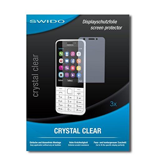 SWIDO Bildschirmschutzfolie für Nokia 230 [3 Stück] Kristall-Klar, Extrem Kratzfest, Schutz vor Öl, Staub & Kratzer/Glasfolie, Bildschirmschutz, Schutzfolie, Panzerfolie