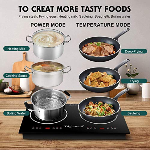 Product Image 3: Trighteach Portable Induction Cooktop(Double Countertop Burner) 2200W Electric Stove with Digital Touch Sensor and Kids Safety Lock, 9 Power Levels Induction Cooker Suitable for Magnetic Cookware