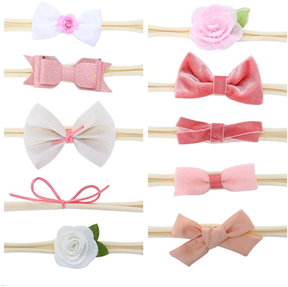 Bow Headbands for Baby Girls Toddlers Infant Butterfly Flower Elastic Nylon Headband Hair Bows Bands Accessories,10 Pcs