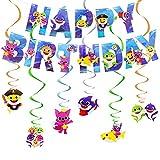 Baby Shark Cumpleaños Decoracion - Miotlsy Artículos De Fiesta Set De Decoración De Cumpleaños Compacto Happy Birthday Deko Espiral Confeti Partykette Para Cumpleaños, Babyparty Bodas Fiesta