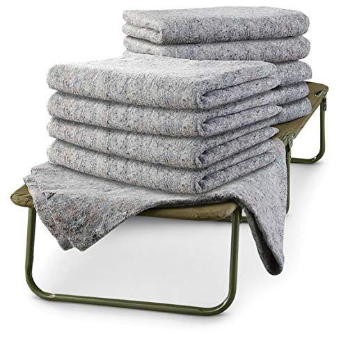 U.S. Military Surplus 8 Pack Wool Blankets, Survival Gear for Disasters & Emergencies, Perfect for Homeless Shelters, Outdoor Camping, Made in USA