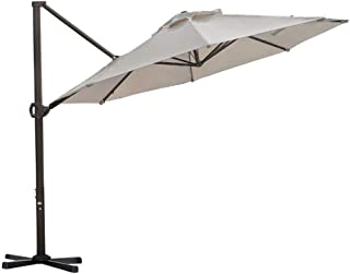Abba Patio 11-Feet Aluminum Offset Cantilever Umbrella with Cross Base (11', Beige)