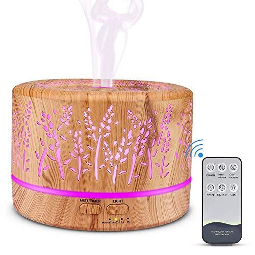 Aroma Diffusor, MANLI Diffuser Luftbefeuchter, aushöhlen Zweig Diffusor Aromatherapie holzmaserung 500ml Raumbefeuchter mit 7 Licht Farben Fernbedienung für Büro, Baby Zimmer, Yoga, Spa, zuhause