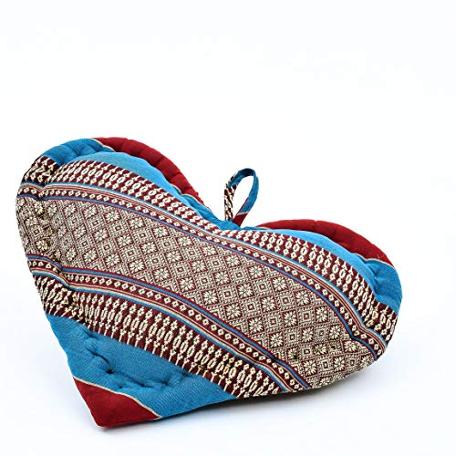 Leewadee Cojín del Corazón Idea del Regalo Cojín De Sofá Orgánico Naturalmente Ecológico, 30x30x10 cm, Capok, Azul Rojo