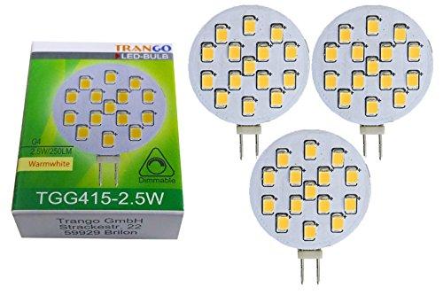 Trango 3er Pack LED Leuchtmittel mit G4 Fassung zum Austausch vom G4, MR16, GU5.3 Halogen Leuchtmittel TGG415-2.5W - 12V AC/DC - 2.5 Watt 250 Lumen mit 3000K Power SMDs warmweiß Lampensockel Lampen