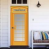 Selbstklebend Türposter Telefonzelle Landschaft Türaufkleber Pvc Selbstklebende Wohnzimmer Tür Wandbild Wandaufkleber Poster Fototapete 77X200 Cm