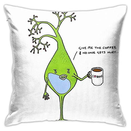 Ahdyr Caffeinated Neuron Cushion Throw Pillow Cover Decorative Pillow Case For Sofa Bedroom 18 X 18 Inch