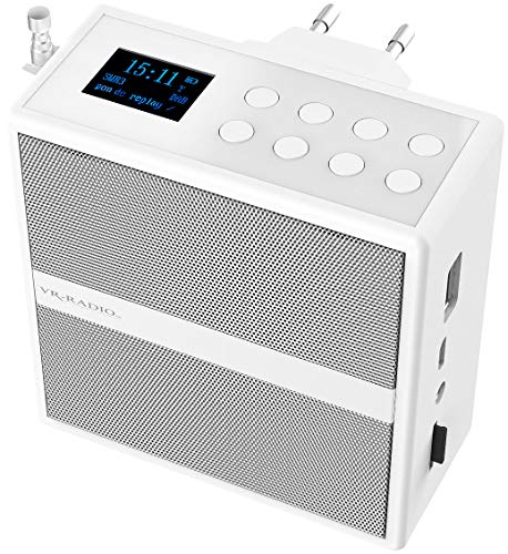 VR-Radio Badezimmer Radio: Steckdosenradio mit DAB+/FM, Bluetooth, USB, Freisprecher & Akku, 6 W (Radio mit Bluetooth)