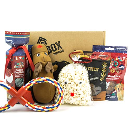 DogBox Boutique The Christmas Dog Gift Box Dog Hamper Perfect for Dog Bursting Dog Treats, Toys And Treats