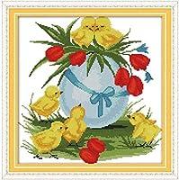 クロスステッチ刺繍キット 図柄印刷 初心者 ホームの装飾 刺繍糸 針 布 11CT Cross Stitch ホームの装飾 黄色いひよこ 40X50CM