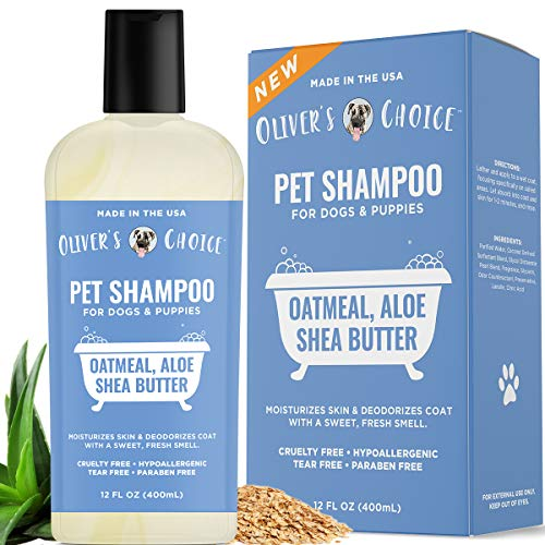 Dog Shampoo with Oatmeal and Aloe. Shea Butter for Smelly Dogs, Dry Itchy Skin, Puppy Shampoo, and Sensitive Skin by Oliver's Choice 14 oz