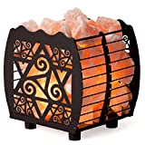 CRYSTAL DECOR Natural Himalayan Salt Lamp in Metal Basket with Dimmable Cord - Choose Your Design (Shabby Chic)